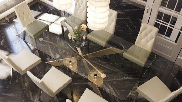 Mesas comedor cristal detalle