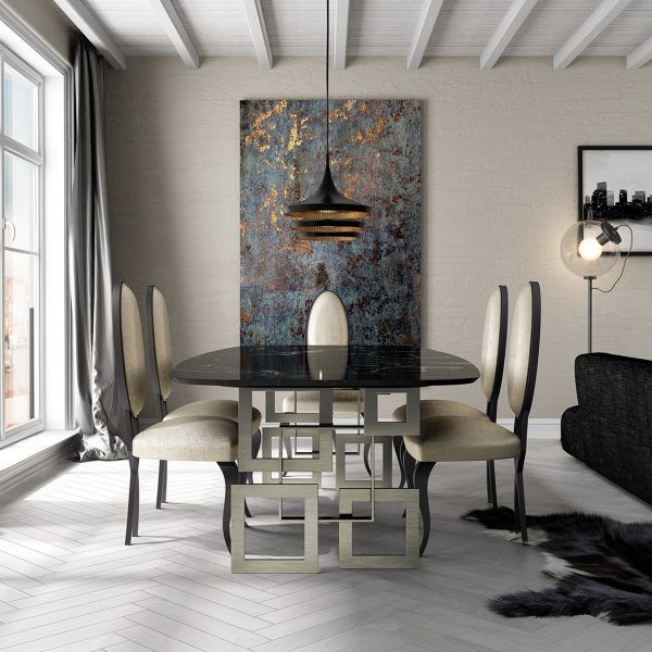 Marble dining tables detail