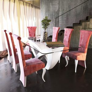 Glass dining tables detail