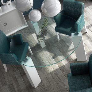 Mesas comedor cristal redondas detalle
