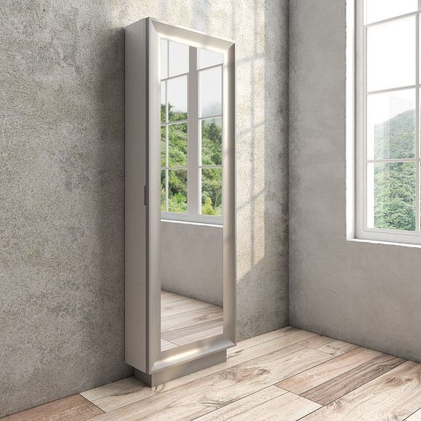 Shoe cabinet with mirror