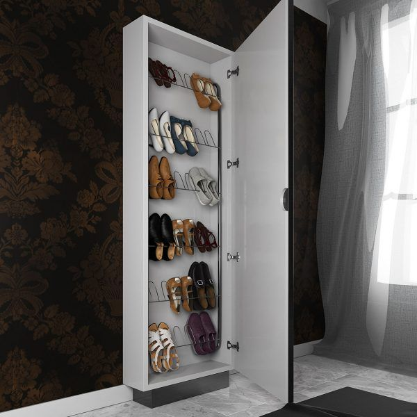 Shoe cabinet with mirror detail