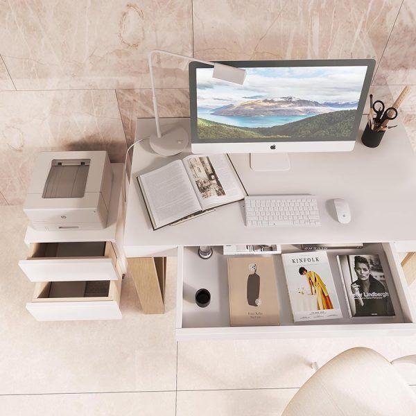 Mesa de escritorio con cajón y cajonera