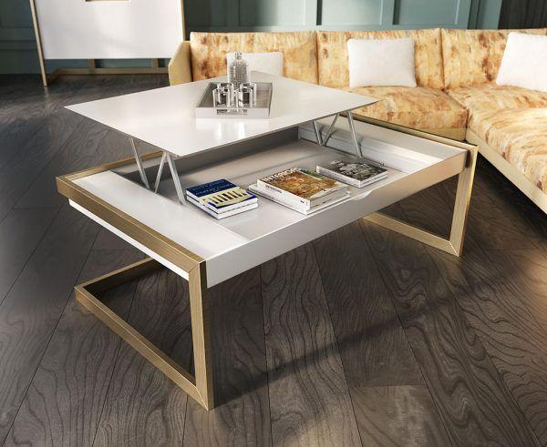 mesa de centro con sistema elevable